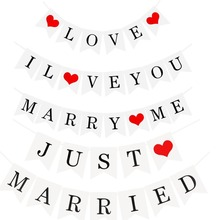 White Paper Just Married Wedding Bunting Love Banner Photo Booth Props Romantic Paty Photobooth Decoration