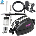 OPHIR Airbrush Kit with 5-Adjustable Mini Air Compressor Air brush Spray Gun for Makeup Body Paint Temporary Tattoo _AC094+AC005