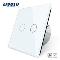 Livolo EU Standard VL C702SR 11 Touch Remote Switch White Crystal Glass Panel 2 Gangs 2