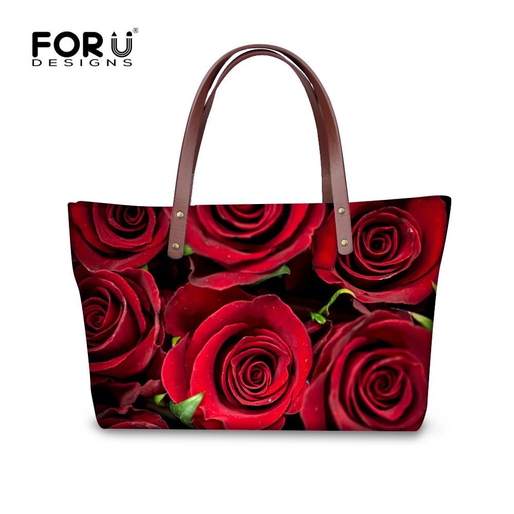 ФОТО New Women Midium Handbags for Famous Brand Fashion Flower Rose Ladies Cross Body Bags Travel Shopping Bag Floral Bolsa Feminina