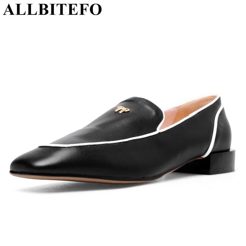 ALLBITEFO soft natural genuine leather women high heels fashion leisure girls work shoes woman high heel