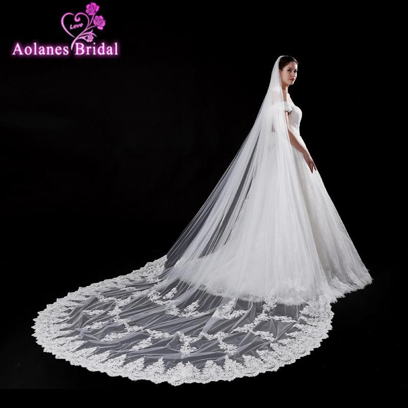 Aolanes 2018 nuevo 5 m Longitud vintage estilo catedral nupcial velo largo encaje Appliques una capa vestidos de novia velo real foto