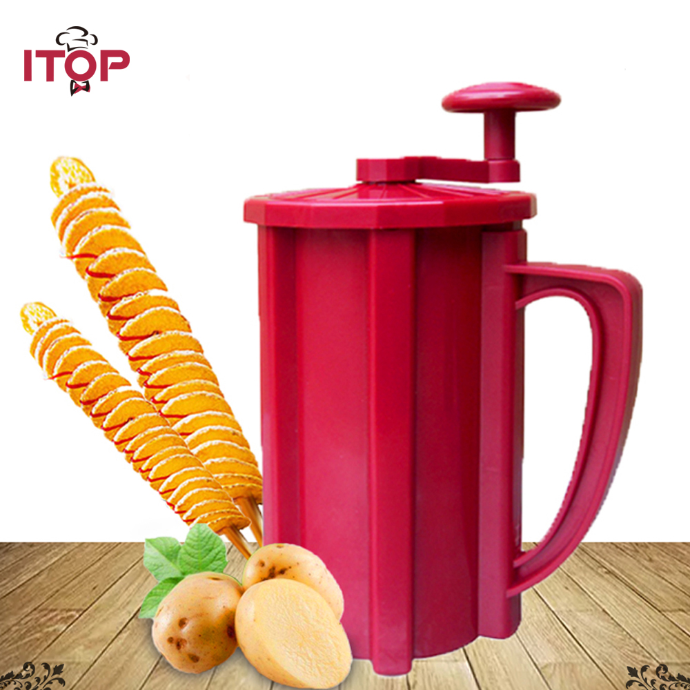 ITOP Multifunction Spiral Twisted Potato Cutter Manual Spiral Shredder Vegetable Fruit Tools automatic electric fruit salad slicers cutt shredder machine vegetable cutter fruit onion slicer shredder high quality