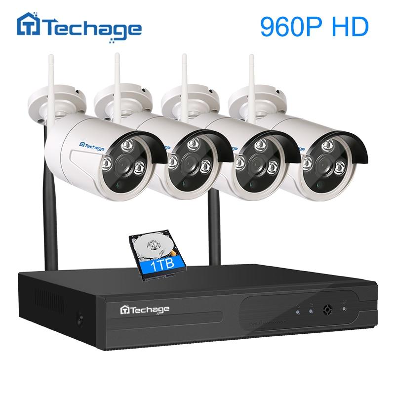 Techage 4CH Wireless 1 3MP Array Cam Surveillance Kit 960P ONVIF WIFI IP Camera Outdoor IP66
