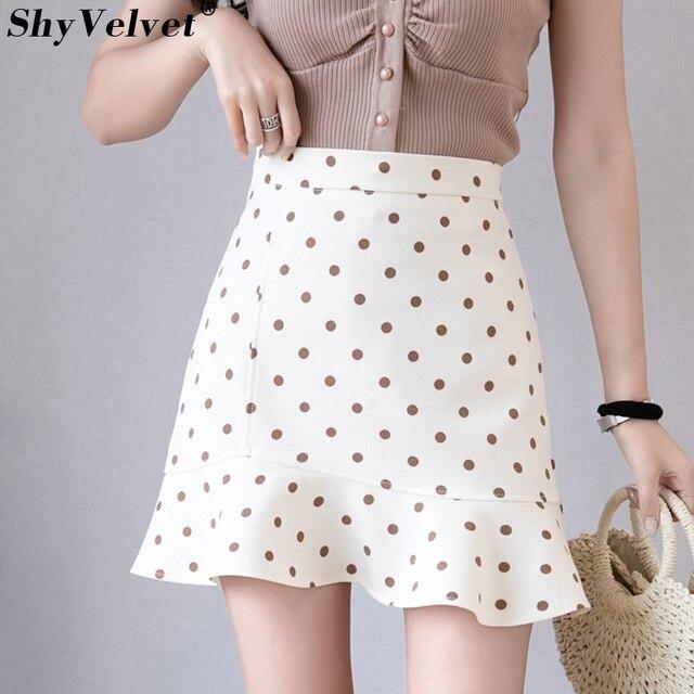 0851f789e Summer New Irregular Mini Skirt Womens Mermaid A Line Polka Dot Skirts  Girls Ruffles School Faldas Black Apricot