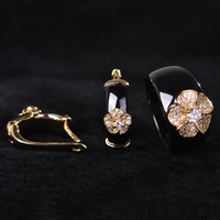 China Style Black Round Zircon Ceramic Jewelry Sets Earrings Ring Women Man 18k Gold Flower Wide