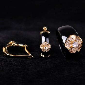 China Style Black Round Zircon Ceramic Jewelry Sets Earrings& Ring Women Man 18k Gold Flower Wide Aros Porcelain Oorbellen Joyas