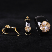 China Style Black Round Zircon Ceramic Jewelry Sets Rose Flower Earrings Ring Women Gold Color Wide Porcelain Oorbellen Joyas