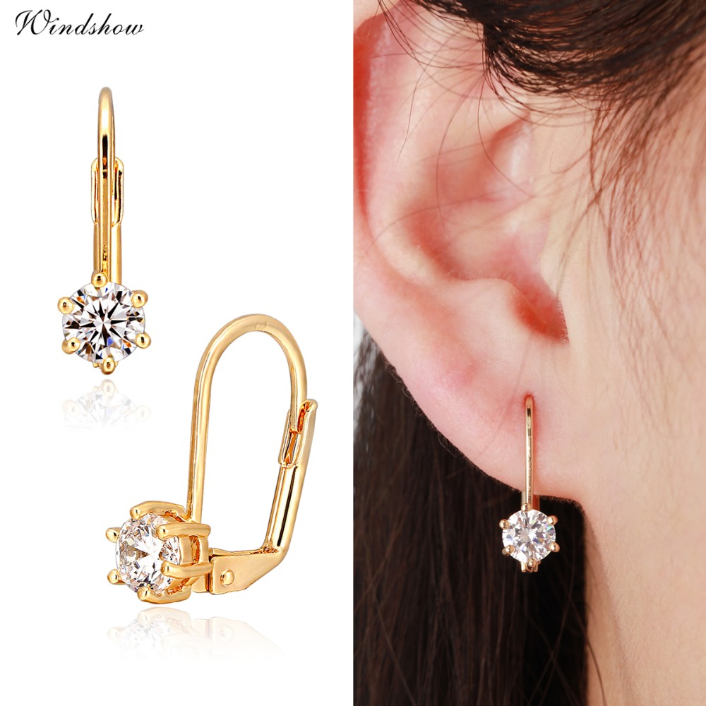 Cute Gold Color Six Claw Solitaire Round Aaa Cz Zircon Small Clip On  Earrings For Women Girls Wedding Bridal Jewelry Brinco Aros
