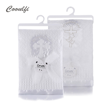 Gooulfi Baby Blanket Unisex Baptism White Baby Blanket Shawl Knitted Christening Children Blanket Newborn For Baby Carriage