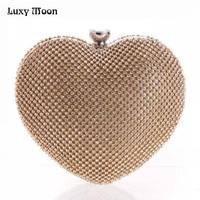 Full Luxury Diamond Evening Bags Heart Shape Gold Clutch Bag Purse Women S Rhinestone Banquet Bag