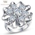 HANSEL $ WANG Única Flor-Em Forma de Diamante CZ Anel Banhado A Prata Anéis de Noivado de Casamento para As Mulheres Perfurado 2RS128