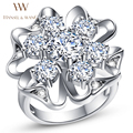 HANSEL $ WANG Unique Flower-Shaped CZ Diamond Silver Plated Ring Engagement Wedding Rings for Women Pierced 2RS128