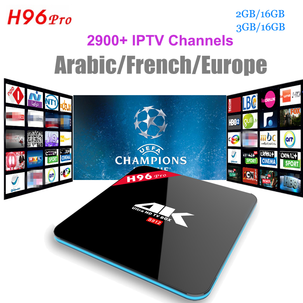 H96 Android 7.1 IPTV Box H96 Pro S912 With 2900+Channels Europe French Arabic Italy Turkish 4K media player Android Smart tv box цена