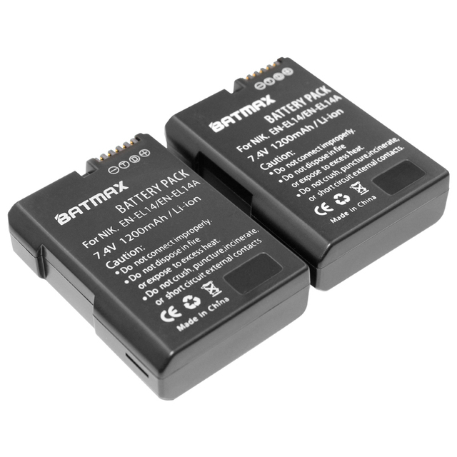 2x EEN-EL14 EN-EL14a ENEL14 EL14a Battery for Nikon COOLPIX P7000 P7100 P7700 P7800 D3100 D3200 D3300 D5100 D5200 D5300 Camera