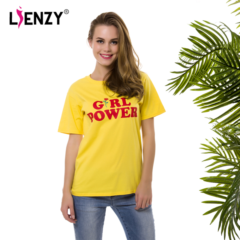 LIENZY Summer Girl Power Rose T Shirt Letter White Yellow Grey Black Cotton Ladies T-Shirt Tops