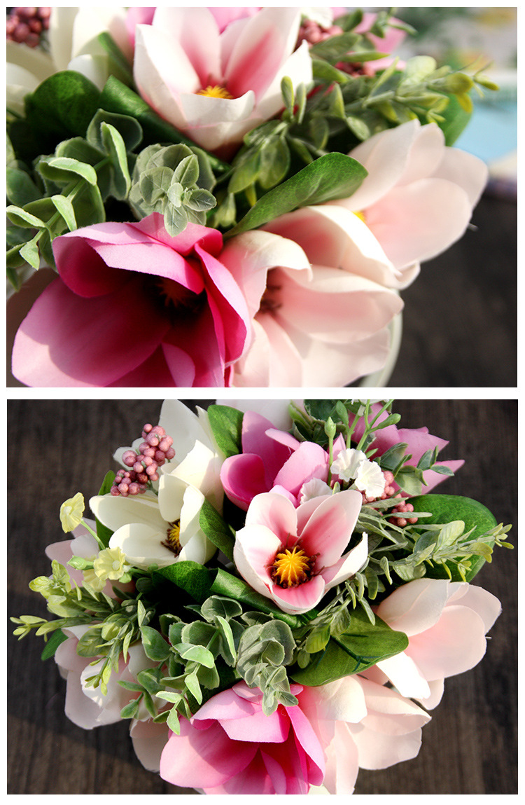 Factory Wholesale Artificial Magnolia Bouquet Silk Floral Flowers