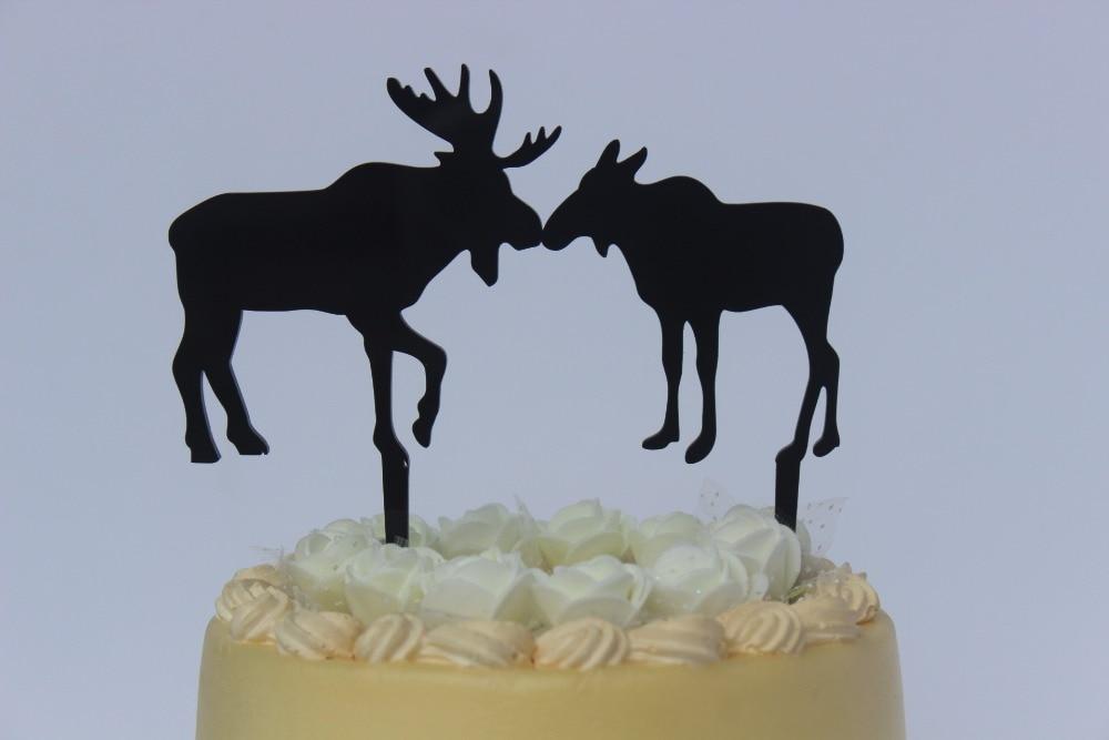 Funny Moose Bull Cow In Love Silhouette Wedding Cake Topper In
