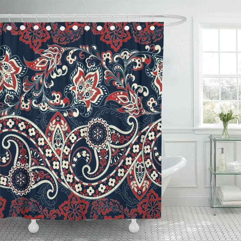 Cortinas de ducha cortina de baño medallón Floral con Paisley en estilo asiático alfombra persa Oriental Vintage baño Damasco