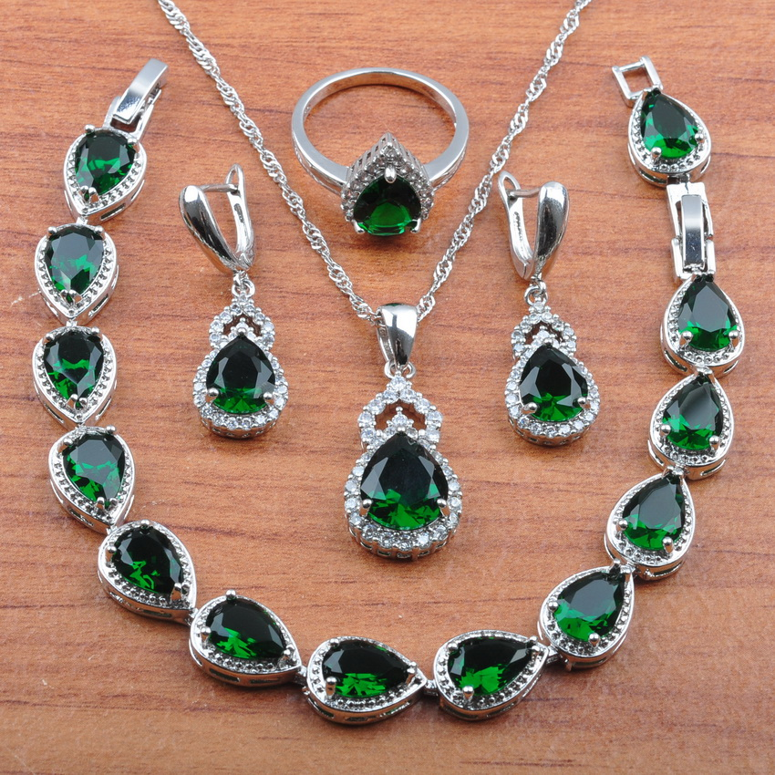 Costume Jewelry-Set 925-Sterling-Silver Bracelet/ring-Js0324 Zirconia Green Women New