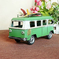 Handmade Classic bus model Vintage metal craft retro bus model shooting props Cute Bar/Pub/Cafe/Shop decoration gift