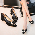 Spring 2017 female black suede shoes shallow mouth women OL high heel shoes party fashion women's wedding square heel shoes