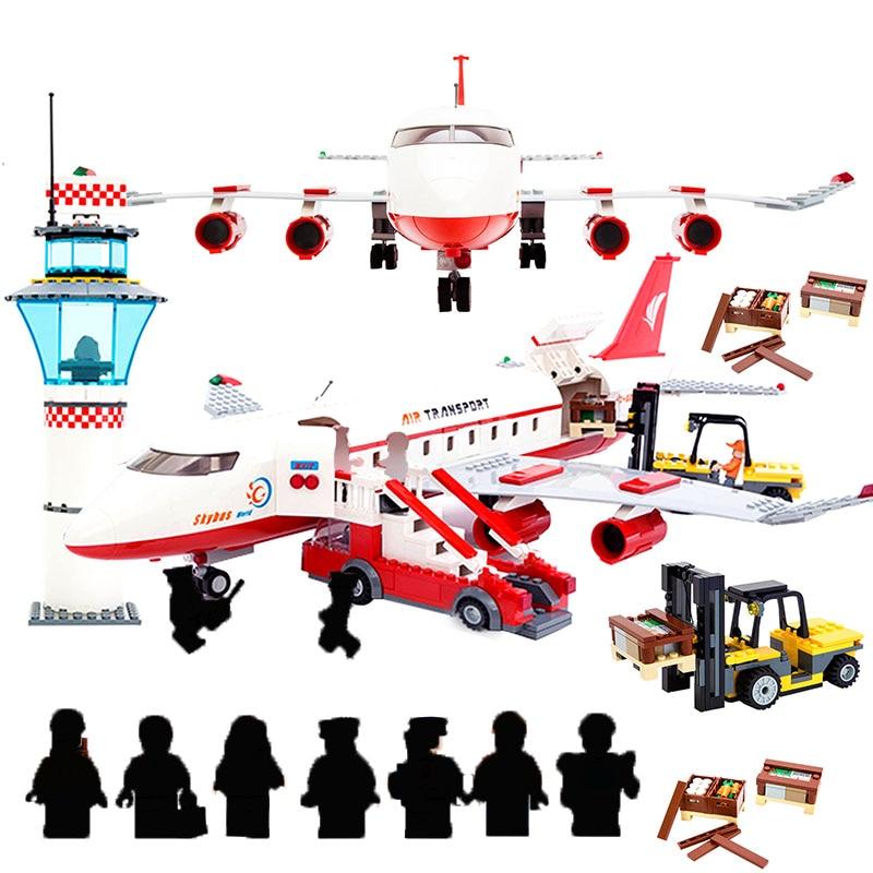 GUDI City International Airport Aviation Aircraft Assembly Building Blocks kits Bricks Model Educational Toys For Kids Creator