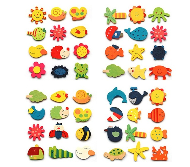 12pcs/lot  Wooden Refrigerator Magnet Fridge Stickers Animal Cartoon Colorful Kids Toys for Children Baby Educational 40% OFF