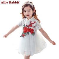 AiLe Rabbit Girls Dress 2017 New Summer Children Clothing Red Flowers Princess Casual Cheongsam Nice Lace Tutu Dress Kid Clothes