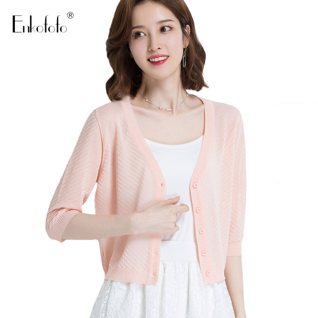 105ff5e896f083 Women Summer Lightweight Cardigans Women Spring and Autumn Solid Sweater  Crop Tops V Neck 3/4 Sleeve Slim Short Thin Cardigan