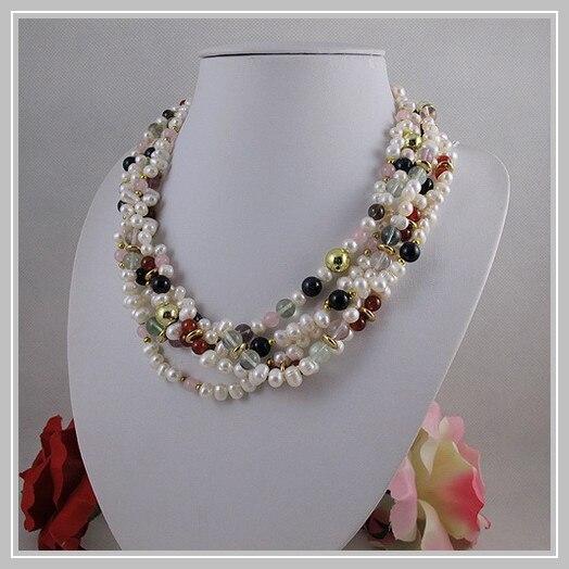 Magasin de bijoux de perles uniques, collier de perles d'eau douce blanches de Quartz Rose d'agates multicolores de 5 rangées, bijoux parfaits de cadeau de femmes