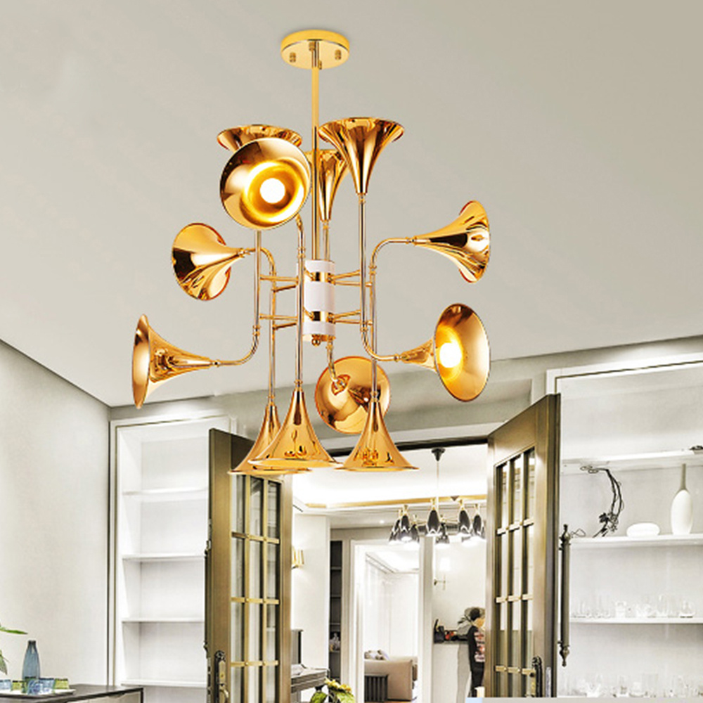 Musical instrument horn hanging light chandelier suspension lamp musical instrument horn hanging light chandelier suspension lamp lighting fixture trumpet group 121624 head for parlor hotel in pendant lights from lights mozeypictures Image collections