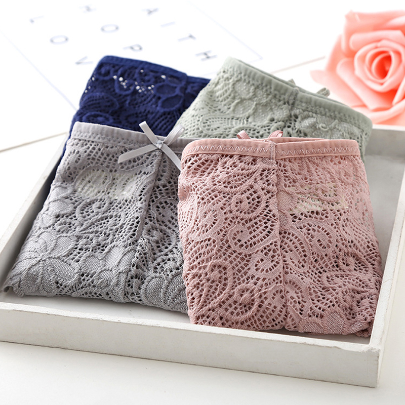 Deruilady Elegant Cotton   Panties   Low Rise Hollow Out Lace   Panties   Women Soft Comfort Underwear Women Floral Lace Sexy Lingerie