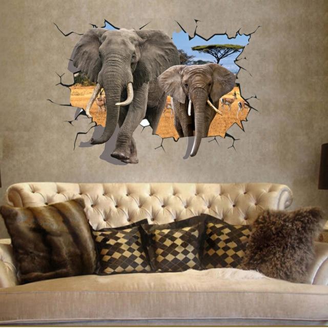 3D Elephants Wall Sticker