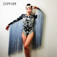 Gray Long Tassel Stars Pattern Leotard Bling Crystals Pearl Bodysuit Nightclub Female Singer Show Prom Party Celebrate Costume