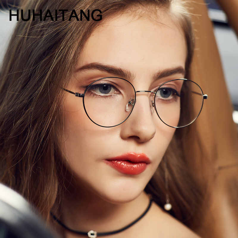 8bbaea3b2303 HUHAITANG Round Nearsight Glasses Women Luxury Brand Anti Blue Light  Computer Eye Glasses Frames For Men Clear Myopia Eyeglasses - AliExpress