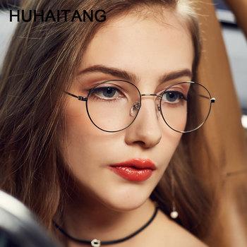 HUHAITANG okrągłe okulary Nearsight kobiety luksusowa marka anty niebieskie światło komputerowe okulary ramki dla mężczyzn jasne krótkowzroczność okulary tanie i dobre opinie FRAMES Okulary akcesoria Stop Unisex Stałe Nearsighted Glasses