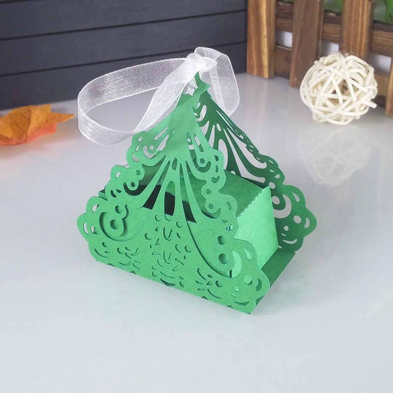 50 pcs corte a laser da árvore de Natal em forma de caixa de presente da festa de casamento caixa de presente caixa de doces caixa de presente de aniversário de Natal 5ZT65