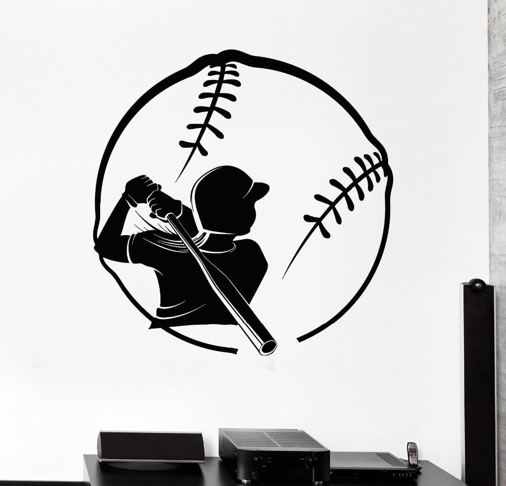 Free shipping Female baseball player batting vinyl wallpaper mural wall stickers decorative fashion sports decals F-152