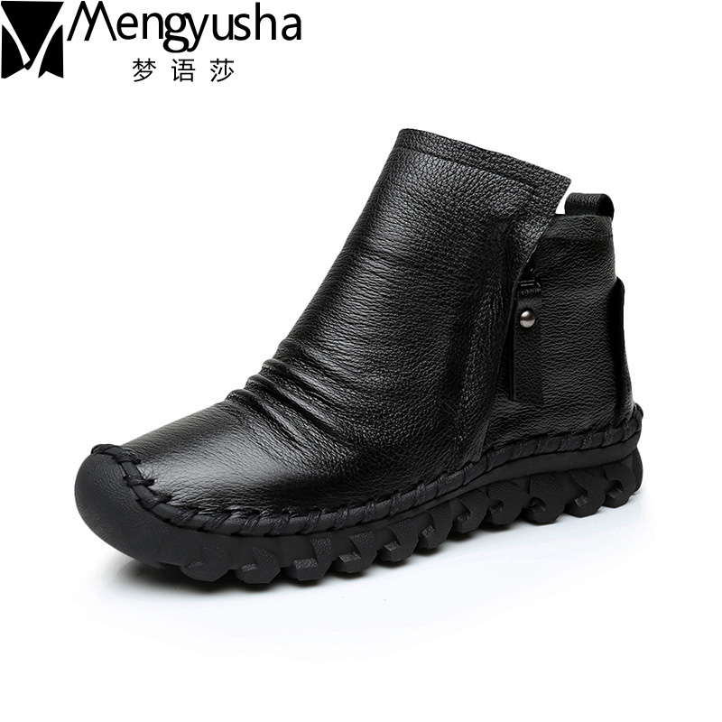 Women Ankle Boots Handmade Genuine Leather Woman Boots Autumn Winter Round Toe Soft Comfotable Retro Boot Shoes Female Footwear 2017 xiangban women ankle boots handmade genuine leather woman short boots spring autumn round toe female footwear