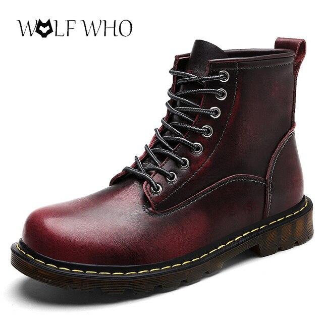 WolfWho マーティンブーツ屋外作業ブーツ男性の靴高品質本革秋のメンズブーツ冬防水アンクルブーツ