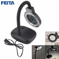 Crafts Glass Lens LED Desk Magnifier Lamp Light 3X/10X Portable Magnifying Desktop Reading Writing Loupe Repair Tools