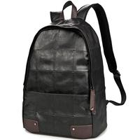 Fashion Backpack Male Full Black PU Leather Portable Travel Patchwork Plaid 14 Laptop Ipad Bags Knapsack