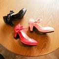 2017 novo estilo princesa menina shoes salto alto arco decoração de couro festa de casamento shoes crianças do miúdo doce sólida chaussures