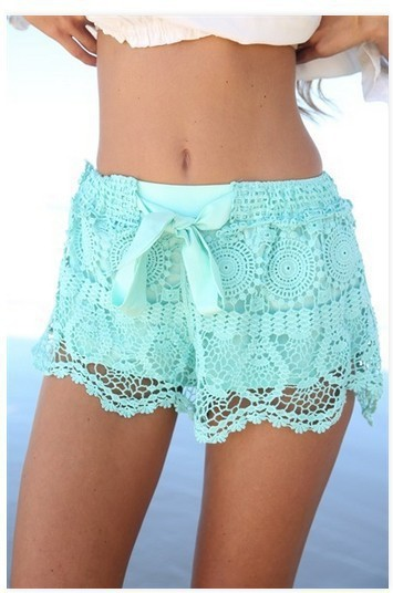 Oxiuly 2015 New Summer Lace Elastic Waist Mid Regular Solid Casual Natural Color Hot Shorts  S-XL