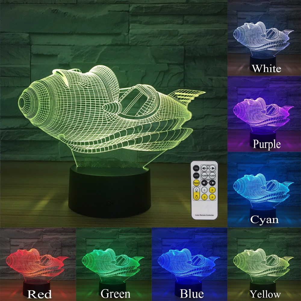 Space Ship 3D Night Light For Kids and Adults 7 Colors Change Remote Control Touch Sensor Birthday Gifts for Boy Girls or Lovers