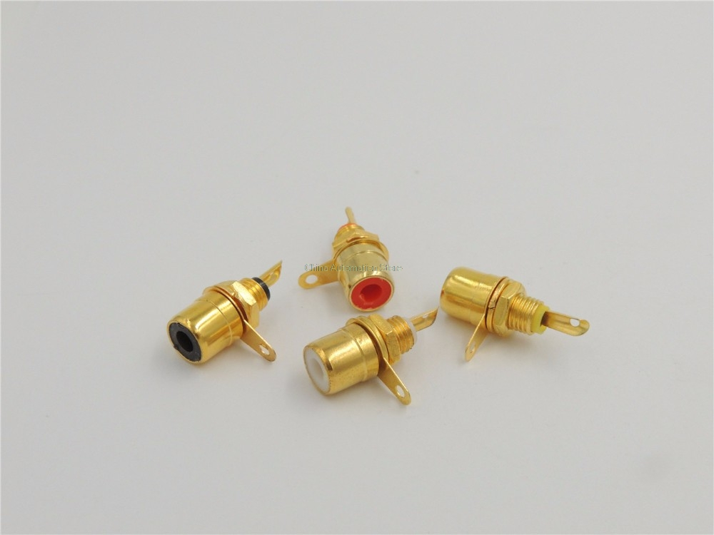 100 pcs RCA Phono Chassis Panel Mount Female Socket Metal adapter Gold plated 80pcs gold plated rca female jack panel mount chassis socket red black