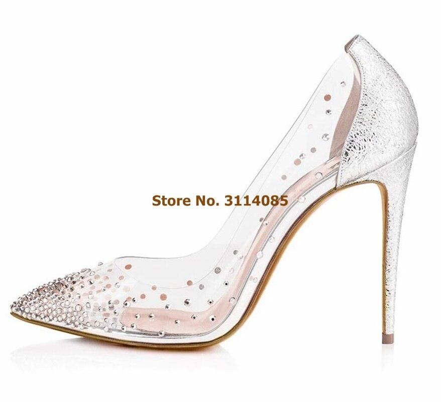 Women Elegant Bling Bling Crystal Wedding Shoes Nude White Heel Patchwork Dress Pumps Clear PVC Banquet Shoes Glitter Pumps