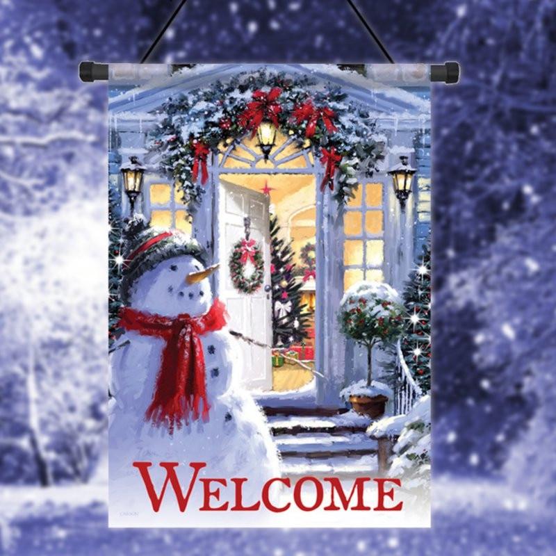 Snowman Entrance Christmas Garden Flag Wreath Decorative Banner 12.5u0026#39;