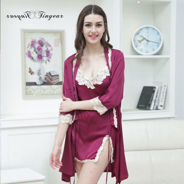 Новая Мода Одеяние Устанавливает Женщины Шелковый Халат Цветочный V шеи Элегантный ПРОТИВ Халат Пижамы установить 5 цветов дополнительно